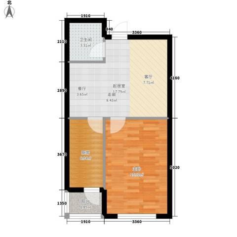 澳海澜庭1室0厅1卫1厨62.00㎡户型图