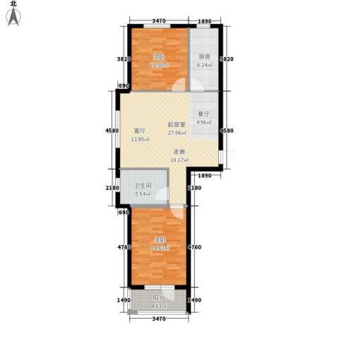 澳海澜庭2室0厅1卫1厨99.00㎡户型图
