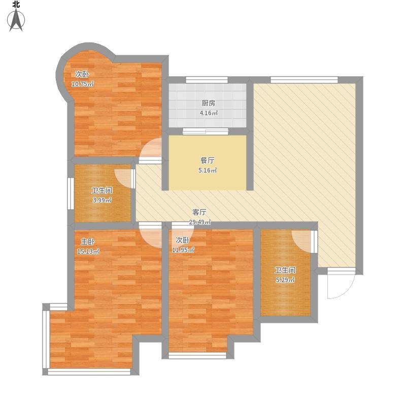 世纪罗马城131平米三室一厅