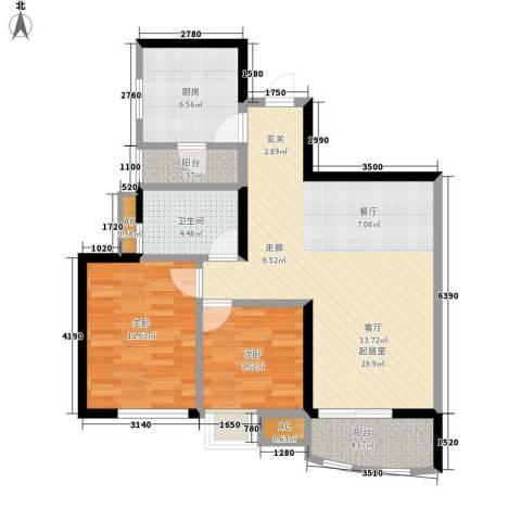 恒荔湾畔2室0厅1卫1厨78.00㎡户型图