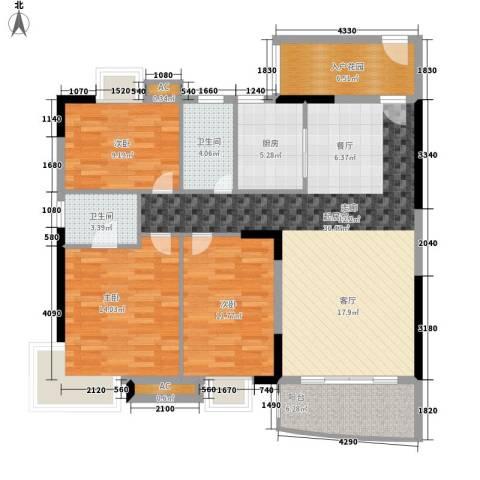 御景花园3室0厅2卫1厨110.30㎡户型图
