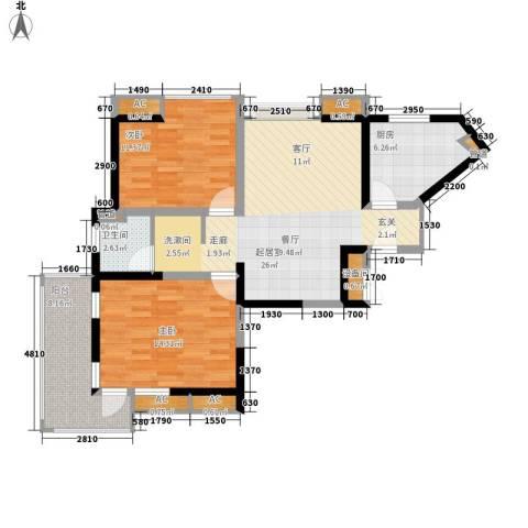 亚东国际公寓2室0厅1卫1厨105.00㎡户型图