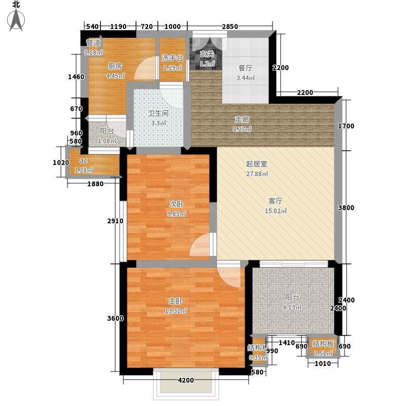 湘府9号85.00㎡3号楼B二面积8500m户型