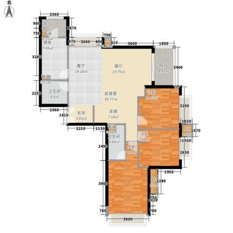 大西洋新城G区3室0厅2卫1厨152.00㎡户型图