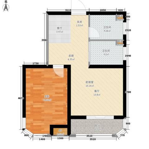 蓝星万象城1室0厅2卫0厨61.00㎡户型图