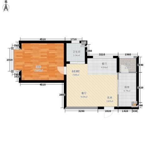 蓝星万象城1室0厅1卫1厨60.00㎡户型图