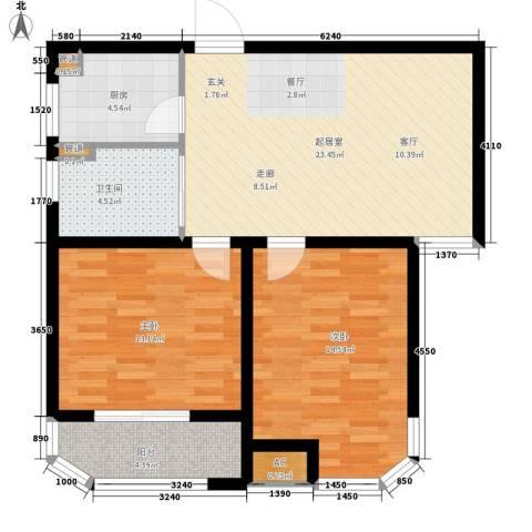 蓝星万象城2室0厅1卫1厨75.00㎡户型图