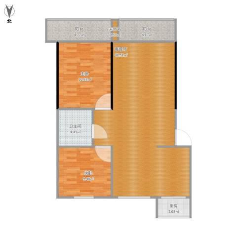 城建福源花园2室1厅1卫1厨105.00㎡户型图