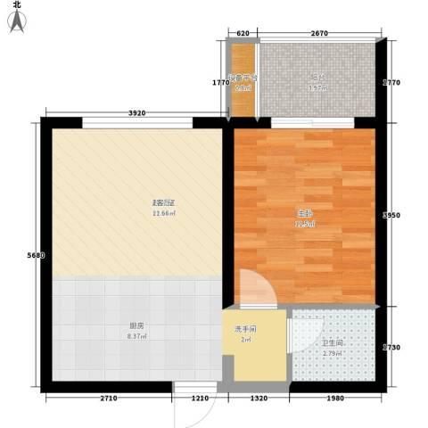 中海国际社区1室0厅1卫0厨55.00㎡户型图