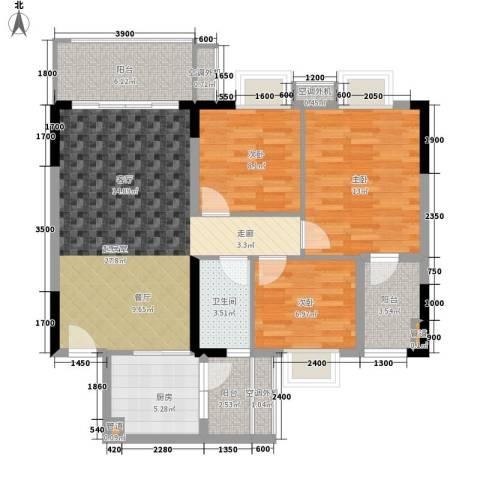 保利紫薇花园3室0厅1卫1厨95.00㎡户型图