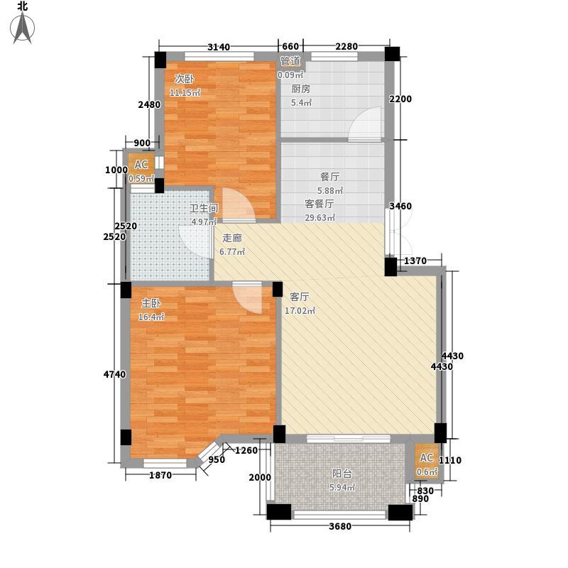 莱卡小镇户型图两室两厅一卫(2/2张)
