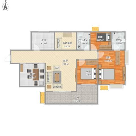鑫月城3室2厅2卫1厨133.00㎡户型图