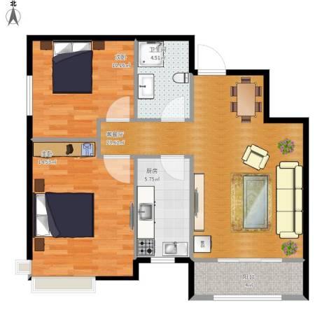 富城铭邸2室1厅1卫1厨86.00㎡户型图