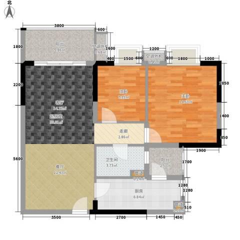 保利紫薇花园2室0厅1卫1厨89.00㎡户型图