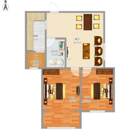 上和城2室1厅1卫1厨84.00㎡户型图