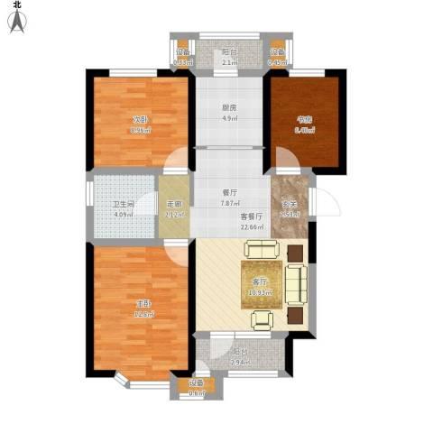 意境兰庭3室1厅1卫1厨98.00㎡户型图