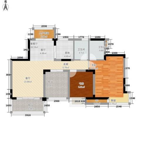 中铁山水天下2室1厅2卫1厨83.60㎡户型图