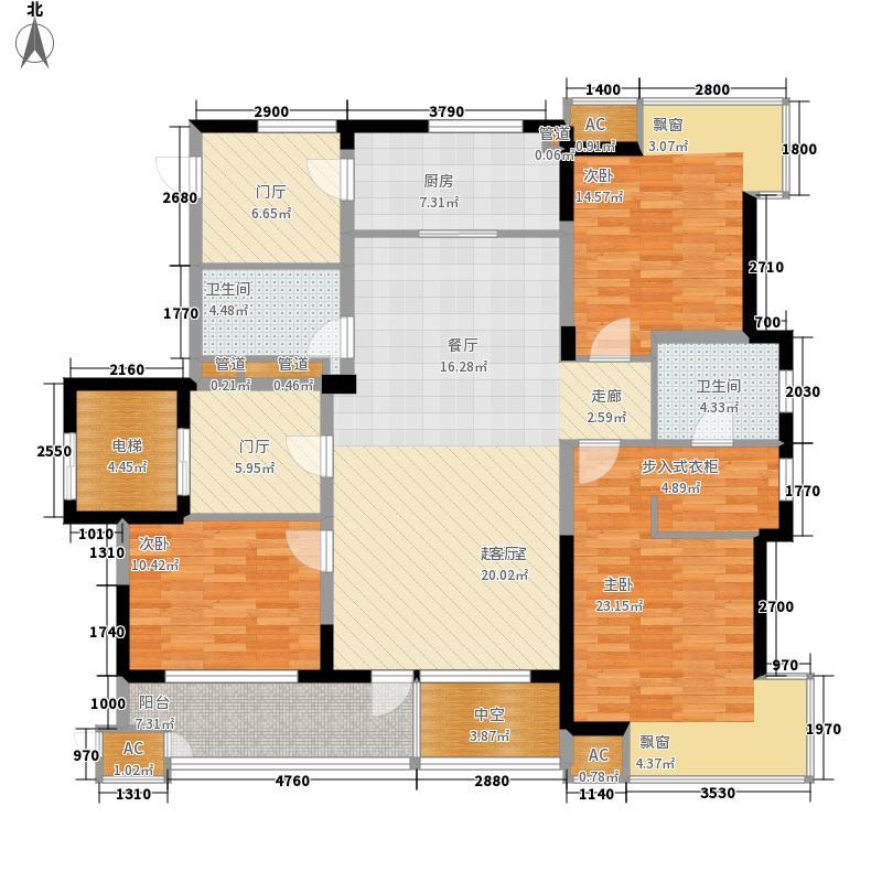 中铁人杰水岸140.00㎡二期小高层D户型3室3厅