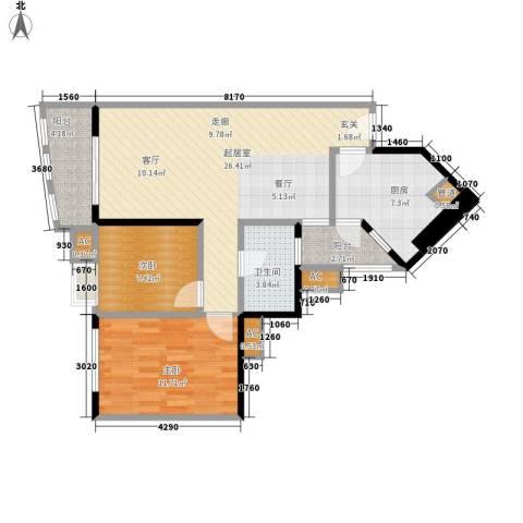 恒荔湾畔2室0厅1卫1厨75.00㎡户型图