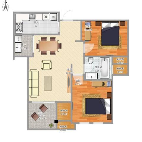 中海御景湾2室1厅1卫1厨89.00㎡户型图