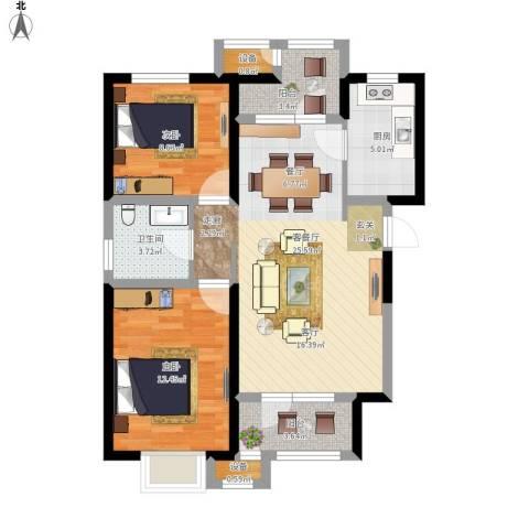 意境兰庭2室1厅1卫1厨94.00㎡户型图
