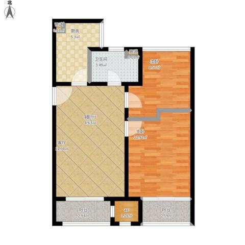 印象欧洲2室1厅1卫1厨82.00㎡户型图