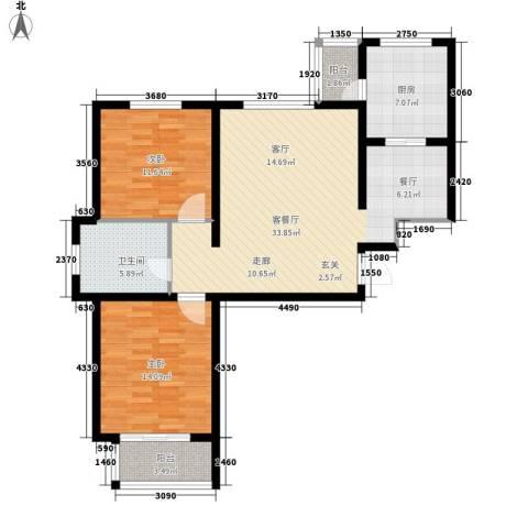 左岸公园2室1厅1卫1厨89.00㎡户型图