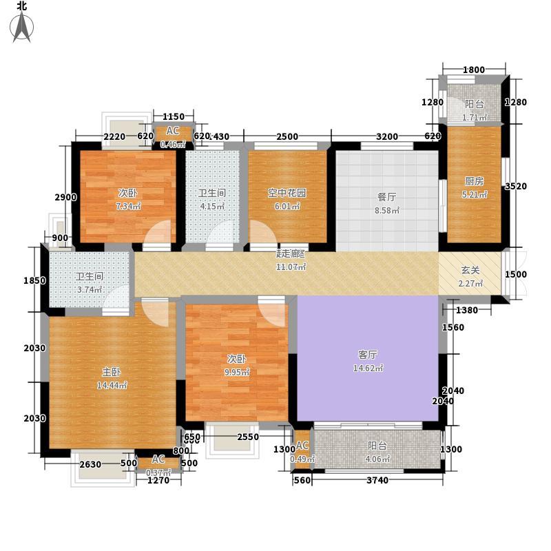 御锦城126.80㎡鹭湾5号楼B7户型3室2厅