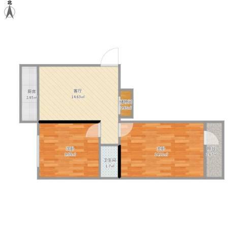 团结湖路小区2室1厅1卫1厨64.00㎡户型图