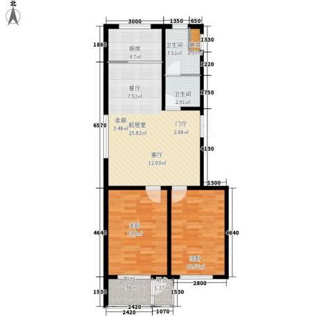 翡翠城2室0厅2卫1厨90.00㎡户型图