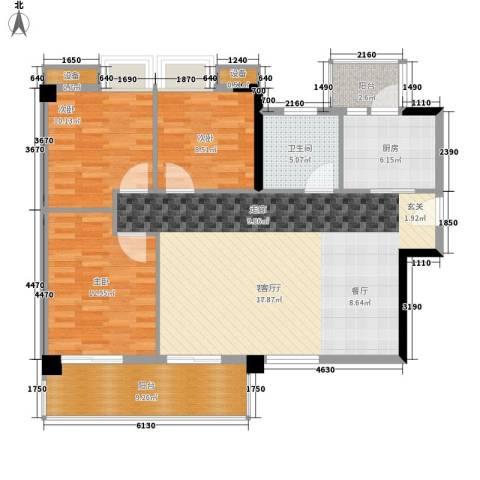 尚领时代3室1厅1卫1厨105.00㎡户型图