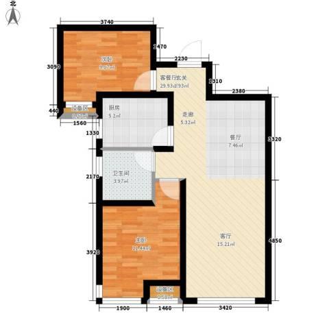 力高阳光海岸2室1厅1卫1厨87.00㎡户型图