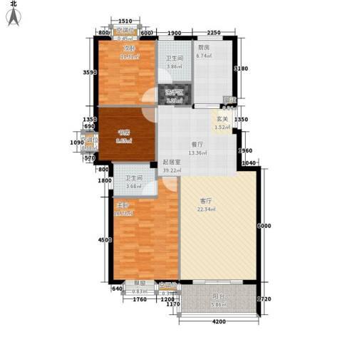 金色港湾3室0厅2卫1厨113.00㎡户型图