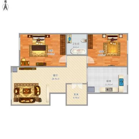 豪邦缇香公馆2室1厅1卫1厨110.00㎡户型图