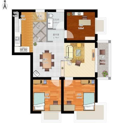 东尚蜂鸟3室1厅1卫1厨93.00㎡户型图
