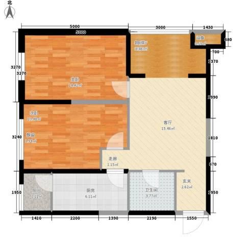 高科尚都2室1厅1卫1厨95.00㎡户型图
