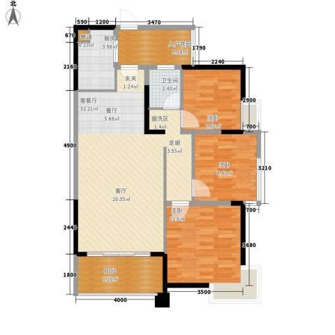火电新村3室1厅1卫1厨108.00㎡户型图