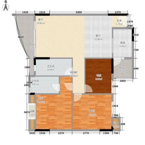 旭景家园3室1厅2卫1厨111.00㎡户型图