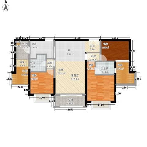 朱美拉公寓3室1厅2卫1厨130.00㎡户型图