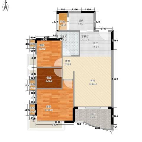 旭景家园3室1厅1卫1厨88.00㎡户型图