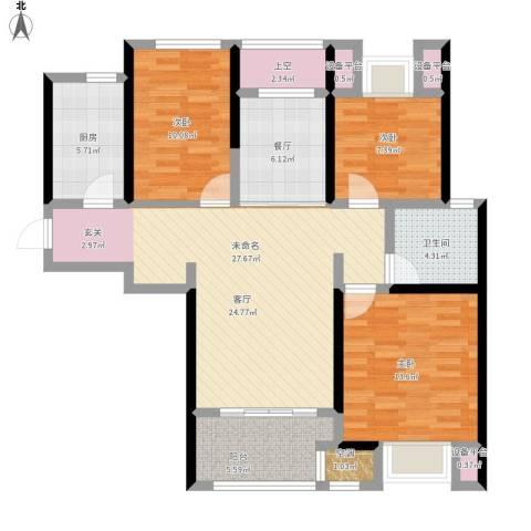 新城春天里3室1厅1卫1厨126.00㎡户型图