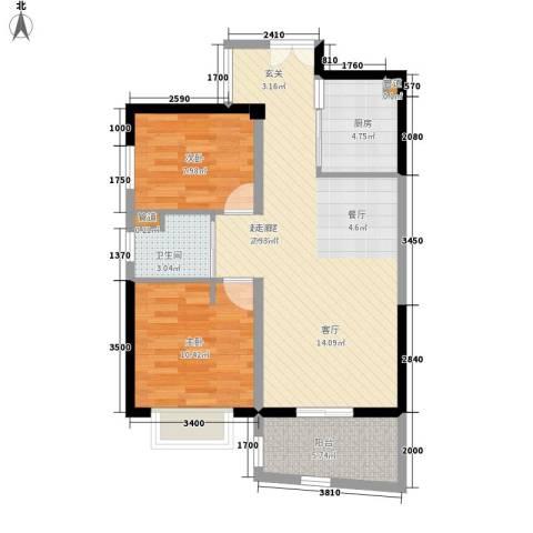 华融琴海湾2室0厅1卫1厨80.00㎡户型图