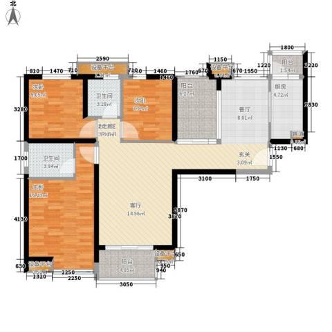 中海国际社区3室0厅2卫1厨128.00㎡户型图