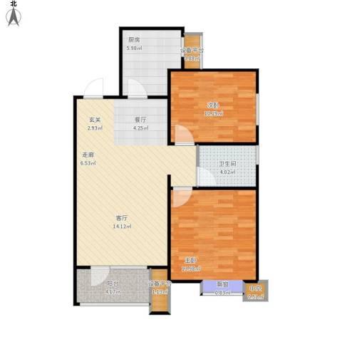 康城·瑞河兰乔2室1厅1卫1厨93.00㎡户型图
