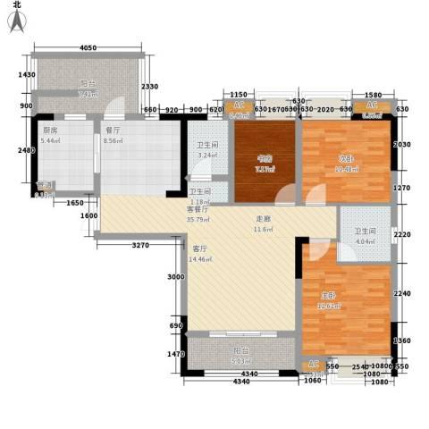 海怡天西城华府3室1厅2卫1厨115.00㎡户型图