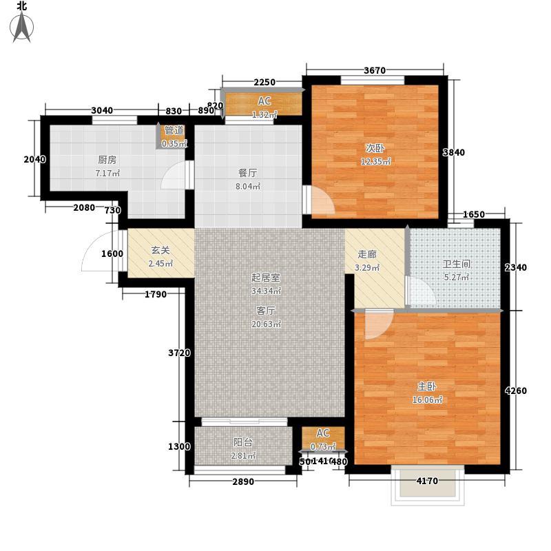 塞纳世家92.37㎡一期高层标准层E2户型