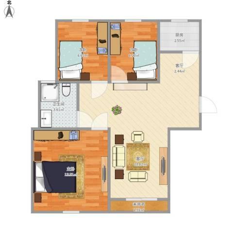 1号公寓3室1厅1卫1厨78.00㎡户型图