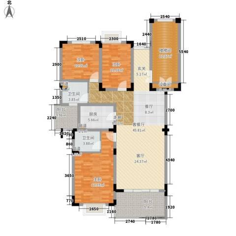 水榭花都3室1厅2卫1厨142.00㎡户型图