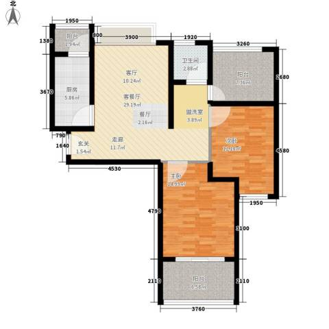 浩华香颂国际城2室1厅1卫1厨93.00㎡户型图