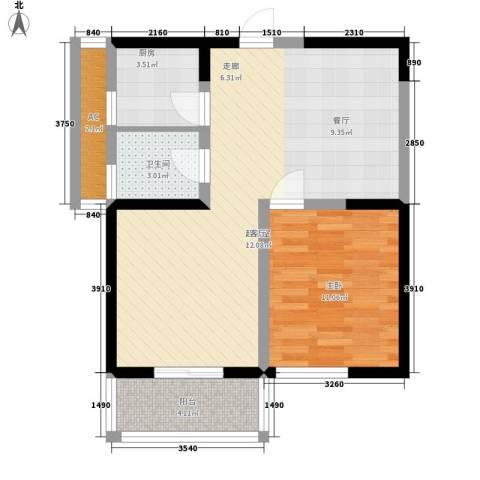 汉水熙园1室0厅1卫1厨75.00㎡户型图